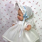 "MINT 1950's Tiny Tears 13.5"" White Organdy Smocked Dress Set"