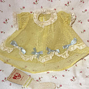 """1950's Flocked Dotted Swiss Organdy Dress for 13.5"""" Tiny Tears"""