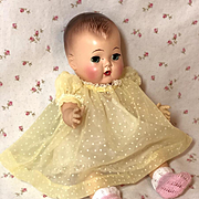 """1950's Flocked Dotted Swiss Organdy Dress for 11.5"""" Tiny Tears"""