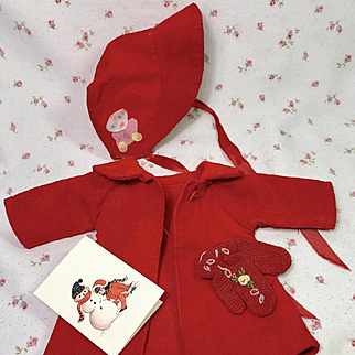 "Vintage CHRISTMAS RED Coat and Bonnet Set with Mittens for 13.5"" Tiny Tears"