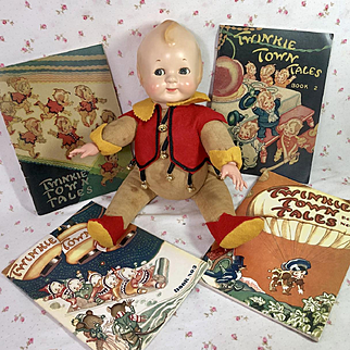 Ideal Toy Co 1926 Vintage TWINKIE Town -- Elf Pixie Brownie -- Doll and 4 Books
