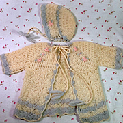 """Effanbee 20"""" Dy-Dee Lou Layette Sweater and Bonnet with Roses"""
