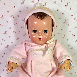 """MINT Vintage Effanbee 20"""" Dy-Dee LOU Pink Eiderdown Snowsuit"""