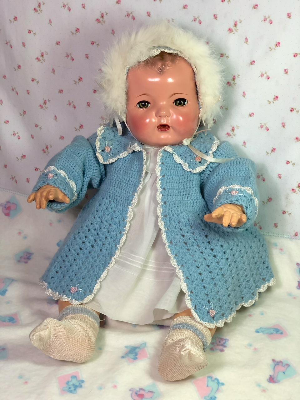 "1930'S Vintage Effanbee 20"" Dy-Dee LOU Sweater Coat and Bonnet w/ Rabbit Trim"
