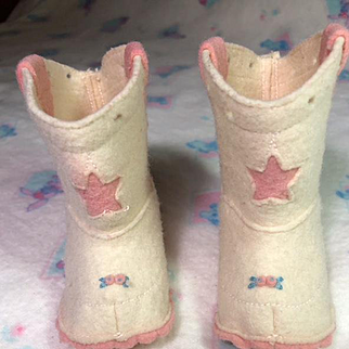 """Vintage Pink Felt COWGIRL Boots for 20"""" Dy-Dee LOU"""