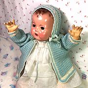 """Vintage Effanbee 20"""" Dy-Dee LOU Baby Blue w/ Roses Sweater Bonnet Booties"""