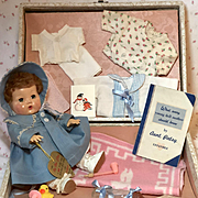 """1940's Effanbee 11"""" Mold 3 Dy-Dee Ellen with Complete Layette and Suitcase"""