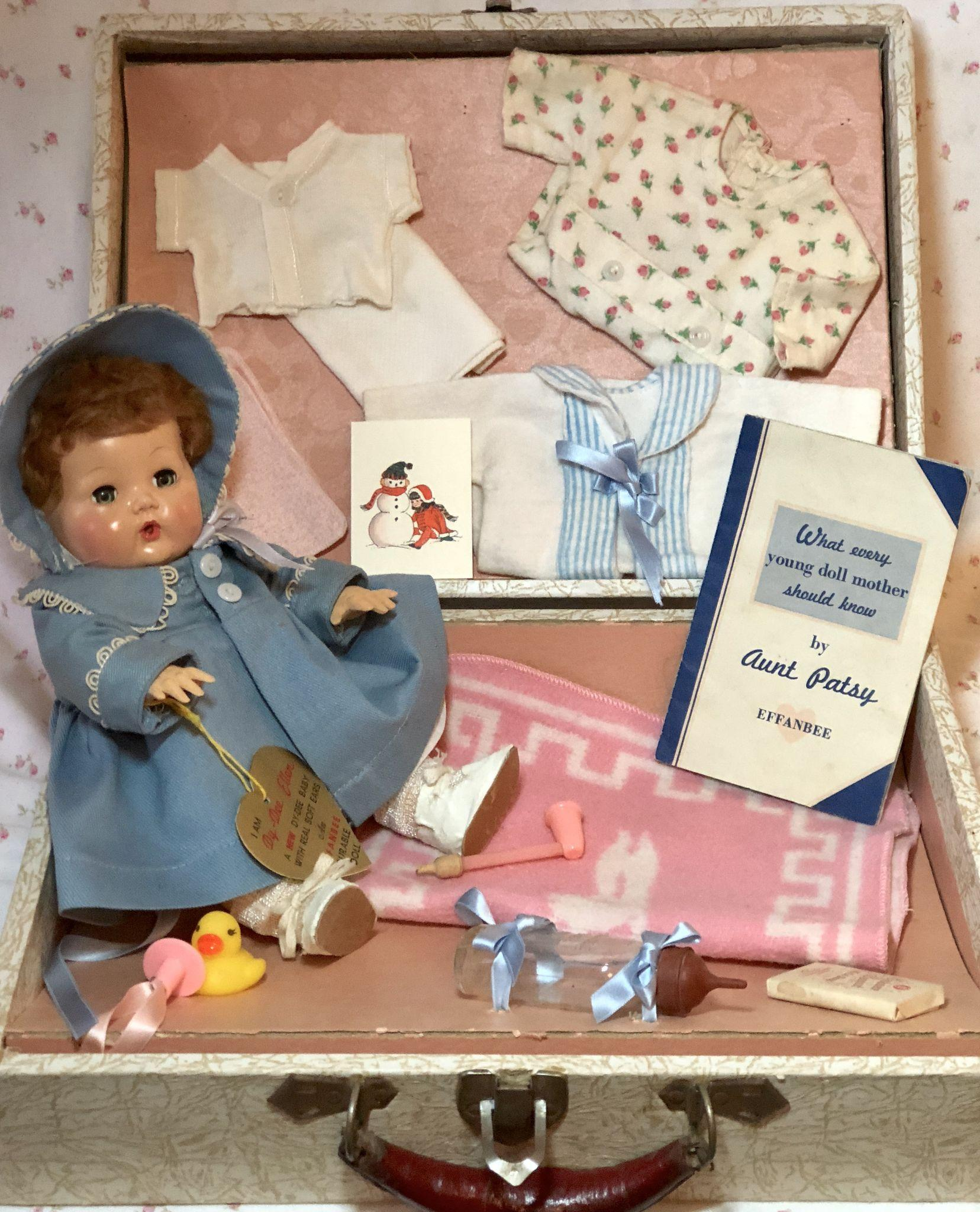 "1940's Effanbee 11"" Mold 3 Dy-Dee Ellen with Complete Layette and Suitcase"