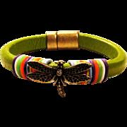 Dragonfly Embellished Thick Greek Leather Bracelet
