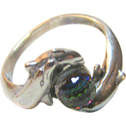 Dolphin Ring with Crystal in Sterling Silver