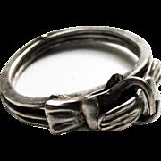 Vintage Sterling Silver Gimmel Love Ring