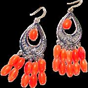 Orange Coral Multiple Stone Silver Plated Pierced Earrings