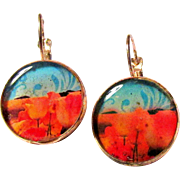 California Poppies Leverback Pierced Earrings