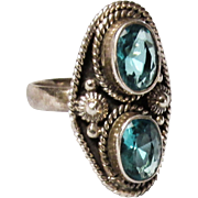 Vintage Topaz Sterling Silver Size 7 Ring