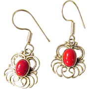 Vintage Red Coral and Sterling Silver Earrings