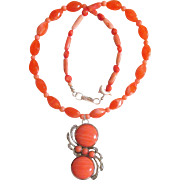 Peach Colored Necklace with Silver Plated Stone Pendant