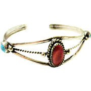 Vintage Sterling Silver Band Bracelet with Coral and Turquoise