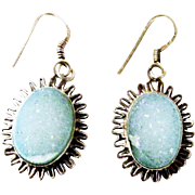 Vintage Light Blue Druzy Sterling Silver Earrings