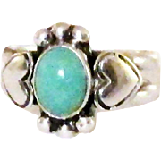 Vintage Turquoise and Sterling Silver Heart Ring Size 8.5