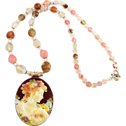 Cameo and Crystal 19 Inch Feminine Necklace