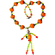 Swarovski Crystal Lampwork Glass Pumpkin Man Necklace