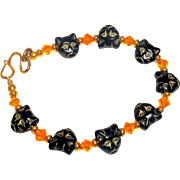 Czech Glass Cats and Swarovski Crystal Bracelet