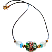 Sea and Lamp Work Glass 20 Inch Greek Leather Necklace
