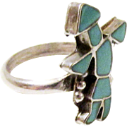 Vintage Zuni Turquoise Blue Kachina Ring Sterling Silver Size 6