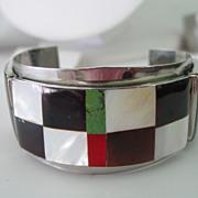 Southwestern Style Cuff Bracelet w Inlaid Mosaic Design