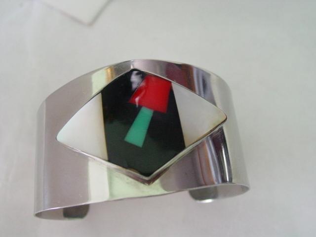 Southwestern Style Cuff Bracelet w Inlaid Mosaic Design 2