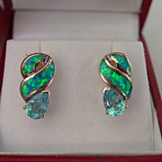 SS Blue Topaz Earrings w  Synthetic Fiery Opal Inlaid Earrings