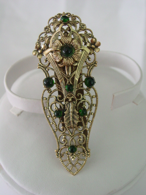 Dress Clip of Layered Floral Filigree Design with Green Beads