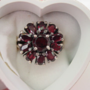 Garnet Ring Flower Design Set in Sterling Silver