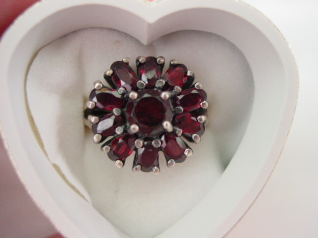 Garnet Ring Flower Design Set in Sterling Silver