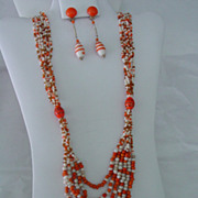 Super Length Necklace w Orange & White Glass Beads & Long Dangle Earrings Set