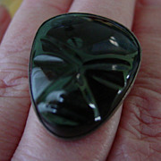 Huge Black Onyx Mayan Aztec Face Mask Ring