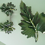 BSK Pin & Earring Parure Green Enamel w AB Rhinestones Leaf Design