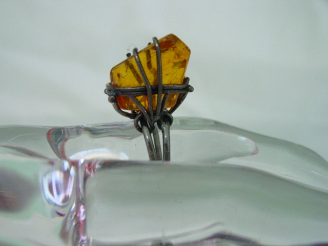 Huge Baltic Amber Silver Ring