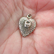 "Sterling Puffy Heart w Lock Charm ""Your Heart For Keeps"""