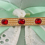Swarovski Red Crystal Bar Pin Brooch