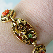ART Bracelet w Art Nouveau Design  Panel Layered  RS & Beads