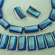 Blue Lucite Charel Parure Set w Necklace Bracelet & Earrings