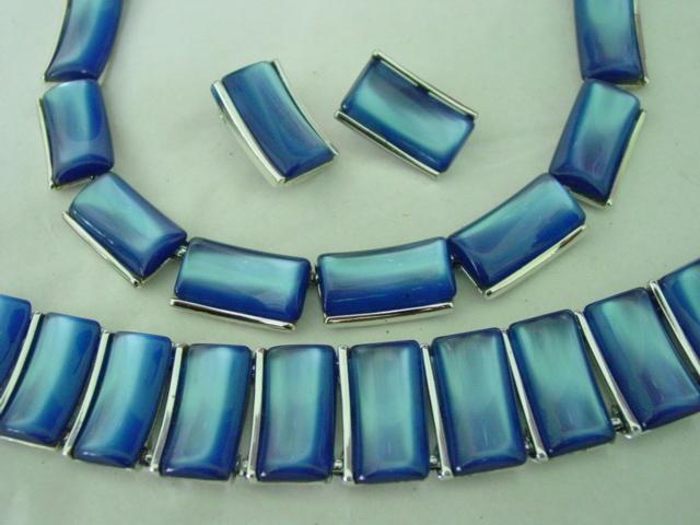 Blue Lucite Charel Parure Set w Necklace Bracelet & Earrings