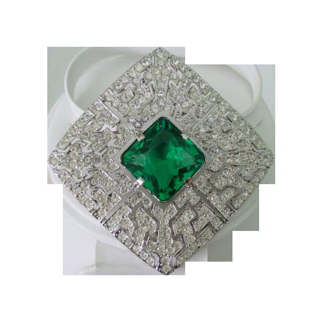Paste Rhinestone w Huge Emerald Glass Crystal Demi Parure Brooch & Earrings