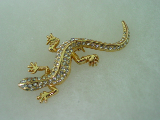 USA Rhinestone Gecko Lizard Pin Brooch