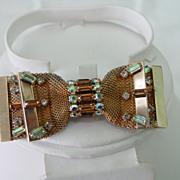 Hobe Pin Mesh Bow Tie w Rhinestones & AB Layered design Pin