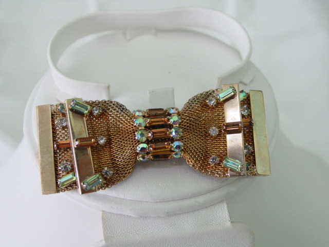 Hobe Pin Mesh Bow Tie w Rhinestones & AB Layered design Pin