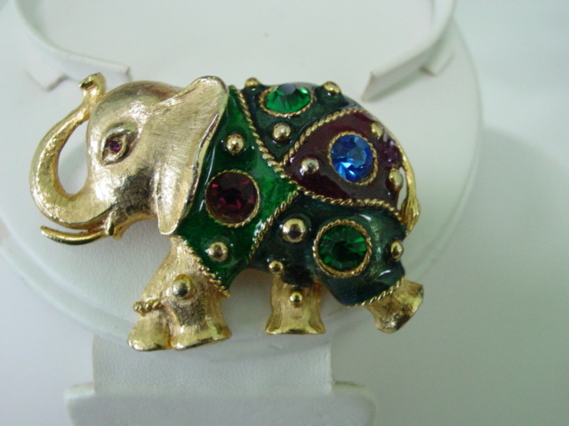 Large Elephant Pin w Big Foil Rhinestones & Multi Color Enamel