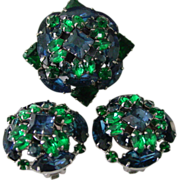 Blue & Green Rhinestone Demi Parure Pin & Earring Set