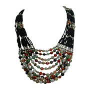 Massive Multi Strand Glass Seed Beads  & Quartz Gemstone Necklace